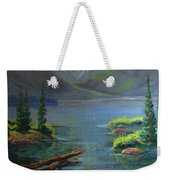 Misty Lake Weekender Tote Bag