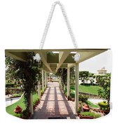 Mix Of Light And Shade Under A Partially Covered Pathway With Pillars Weekender Tote Bag