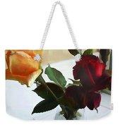 Mixed Roses In Crystal Vase Weekender Tote Bag