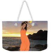 Model In Orange Dress Weekender Tote Bag