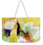 Modern Art With Yellow Black Red And Fanciful Clouds Weekender Tote Bag