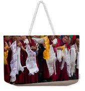Monks Wait For The Dalai Lama Weekender Tote Bag