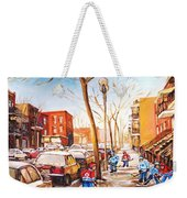 Montreal Street With Six Boys Playing Hockey Weekender Tote Bag