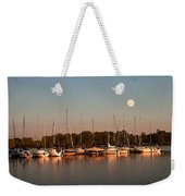 Moon Rises Over The Marina Weekender Tote Bag