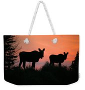 Moose Silhouetted At Sunset Weekender Tote Bag