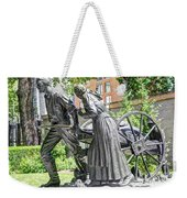 Mormon History - Hand Cart Statue Weekender Tote Bag by Gary Whitton