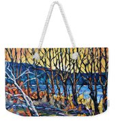 Morning Sunrise Over The Lake By Prankearts Weekender Tote Bag