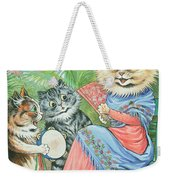 Mother Cat With Fan And Two Kittens Weekender Tote Bag