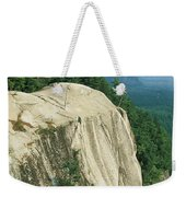 Mountain Biker On Edge Of Cliff Weekender Tote Bag