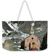 Mountain Chapel With Red Steps Weekender Tote Bag by Lorraine Devon Wilke