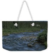 Mountain Stream With Cabin In Evergreen Weekender Tote Bag