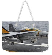 N Fa-18f Super Hornet Lands Aboard Weekender Tote Bag
