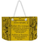 Napiers Treatise On Logarithms Weekender Tote Bag by Photo Researchers