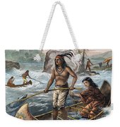 Native Americans/fishing Weekender Tote Bag