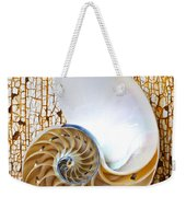 Nautilus Shell On Rusty Table Weekender Tote Bag