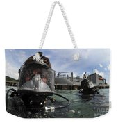 Navy Diver Wearing A Mk-20 Diving Mask Weekender Tote Bag