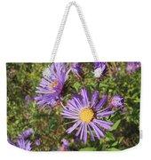 New England Aster Wildflower - Purple Weekender Tote Bag