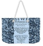 New Testament, King James Bible Weekender Tote Bag by Photo Researchers