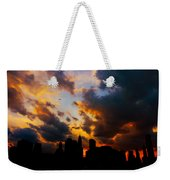 New York City Skyline At Sunset Under Clouds Weekender Tote Bag