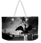 Night Of The Cormorant . Black And White Weekender Tote Bag