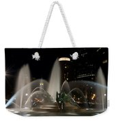 Night View Of Swann Fountain Weekender Tote Bag by Bill Cannon
