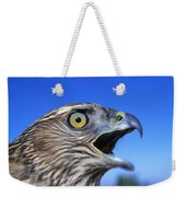 Northern Goshawk With Open Beak Weekender Tote Bag
