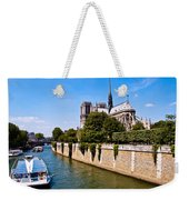 Notre Dame Cathedral Along The Seine River Weekender Tote Bag