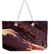 Nude Woman Lying On Rocks By The Water Weekender Tote Bag