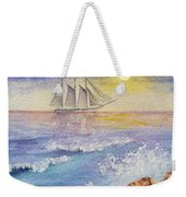 Ocean Waves And Sailing Ship Weekender Tote Bag