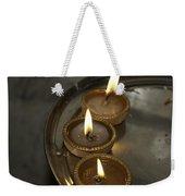 Oil Lamps Kept In A Plate As Part Of Diwali Celebrations Weekender Tote Bag