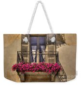 Old Balcony With Red Flowers Weekender Tote Bag by Mats Silvan