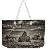 Old Barn After The Storm Black And White Weekender Tote Bag