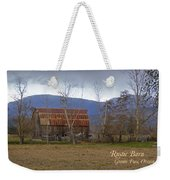 Old Barn In Southern Oregon With Text Weekender Tote Bag