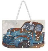 Old Blue Chevy Winter Storm Weekender Tote Bag