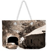 Old Car Older Barn Oldest Bridge Weekender Tote Bag
