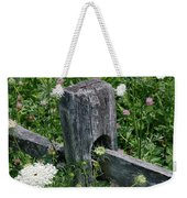 Old Fence And Wildflowers Weekender Tote Bag