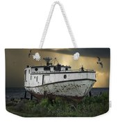 Old Fishing Boat On Shore With Storm Moving In Weekender Tote Bag