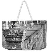 Old Graveyard Fence In Black And White Weekender Tote Bag