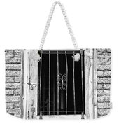 Old Jailhouse Door In Black And White Weekender Tote Bag