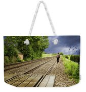 Old Man Walks Along Train Tracks Weekender Tote Bag