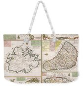 Old Map Of English Colonies In The Caribbean Weekender Tote Bag