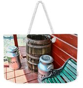 Old Milk Cans And Rain Barrel. Weekender Tote Bag