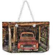 Old Red Car In A Wood Garage Weekender Tote Bag
