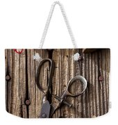 Old Scissors And Spools Of Thread Weekender Tote Bag