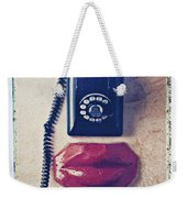 Old Telephone And Red Lips Weekender Tote Bag