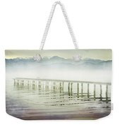 Old Wooden Bridge Into A Mountain Lake On A Foggy Morning Weekender Tote Bag