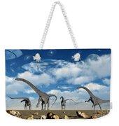 Omeisaurus Dinosaurs Are Startled Weekender Tote Bag