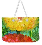 One Yellow One Red And Orange Flower Shines Weekender Tote Bag