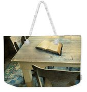 Open Book On Old Table Weekender Tote Bag
