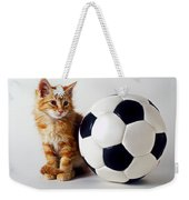 Orange And White Kitten With Soccor Ball Weekender Tote Bag
